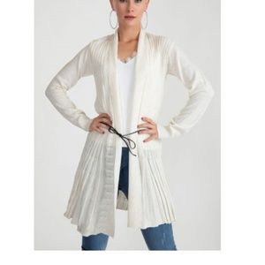 Sweaters - Oatmeal pleated Belted Light Cardigan